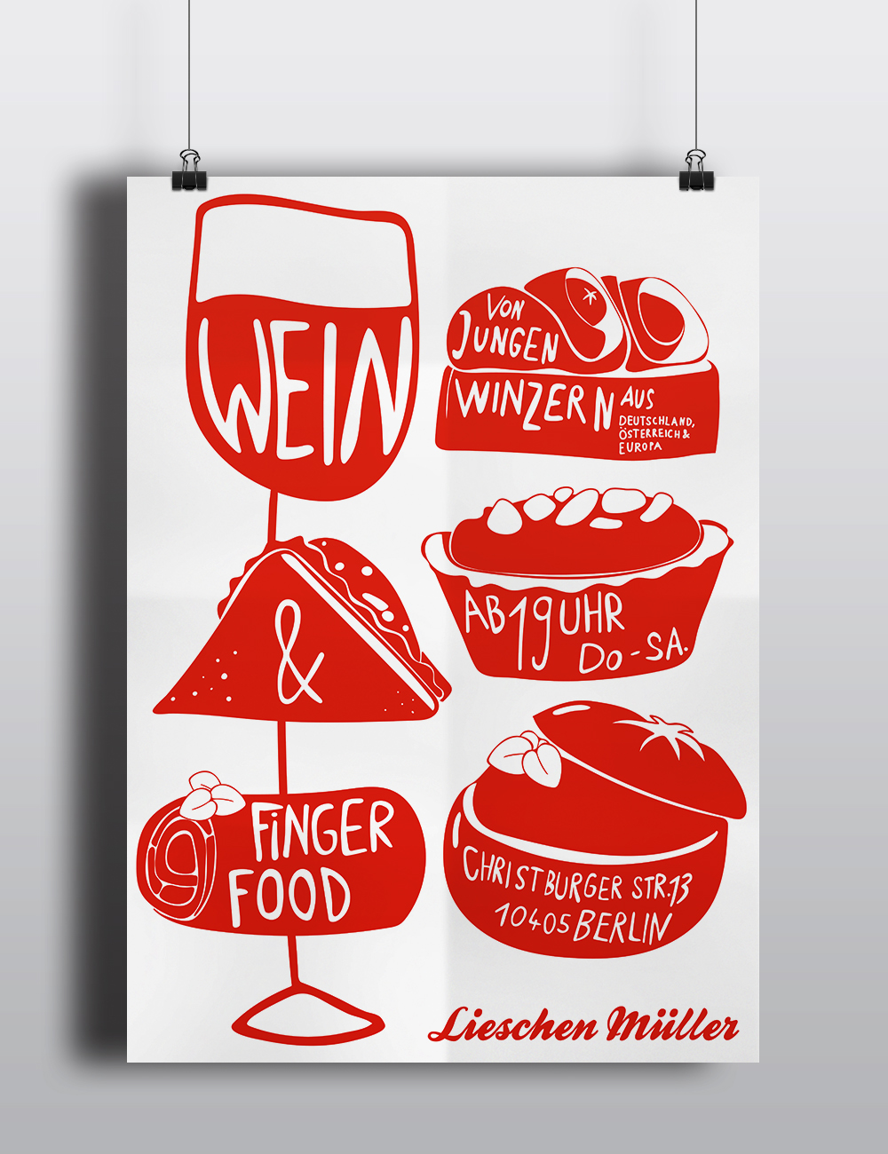 Lieschen Mueller Finger Food Illustration Plakat
